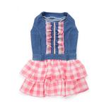 View Image 1 of Denim Chic Dog Dress by Dogo - Pink