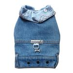 View Image 1 of Denim Jean Jacket Dog Harness Vest with Blue Bandana Trim