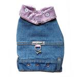 View Image 1 of Denim Jean Jacket Dog Harness Vest with Pink Bandana Trim