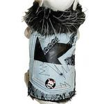 View Image 1 of Denim and Lace Faux Fur Trimmed Dog Jacket by Cha-Cha Couture