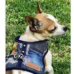 View Image 2 of Denim Lace Dog Harness Vest by Cloak & Dawggie