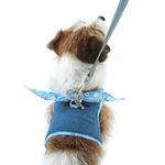 View Image 2 of Denim Scarf Tie Dog Harness Vest - Blue Bandana