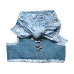 View Image 1 of Denim Scarf Tie Dog Harness Vest - Blue Bandana