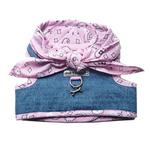 View Image 1 of Denim Scarf Tie Dog Harness Vest - Pink Bandana