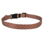 View Image 1 of Diagonal Plaid Dog Collar by Yellow Dog - Brown and Red