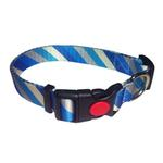 View Image 1 of Diagonal Stripes Dog Collar by Cha-Cha Couture - Blue