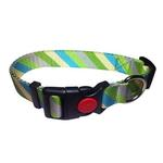 View Image 1 of Diagonal Stripes Dog Collar by Cha-Cha Couture - Green