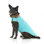 View Image 2 of Diamond Quilted Reversible Dog Coat by Up Country - Aqua and Brown