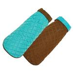 View Image 1 of Diamond Quilted Reversible Dog Coat by Up Country - Aqua and Brown