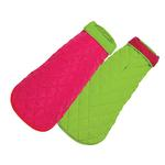 View Image 1 of Diamond Quilted Reversible Dog Coat by Up Country - Pink and Lime
