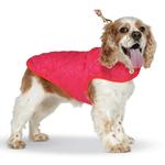 View Image 2 of Diamond Quilted Reversible Dog Coat by Up Country - Pink and Orange