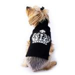 View Image 1 of Diana Luxury Rhinestone Crown Dog Sweater - Black and White