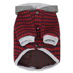 View Image 2 of Dobaz Striped Knit Dog Hoodie - Gray & Red