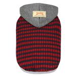 View Image 1 of Dobaz Striped Knit Dog Hoodie - Gray & Red