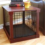 View Image 1 of Wood and Wire End Table Dog Cage - Mahagony