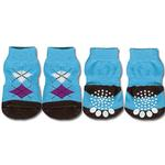 View Image 1 of Doggy Socks - Blue & Brown Argyle