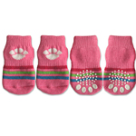 View Image 1 of Doggy Socks - Pink with White Paw Print