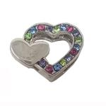 View Image 1 of Double Heart Slider Dog Collar Charm - Multi-Colored