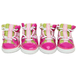 View Image 1 of Parisian Pet Dog Sneakers - Pink and Lime