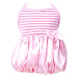View Image 4 of Pink Satin and Striped Tank Dog Dress by Parisian Pet