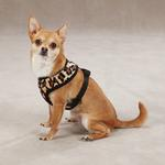 View Image 1 of East Side Collection Plush Animal Print Dog Harness - Leopard