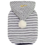 View Image 1 of Dobaz Striped Pompom Dog Hoodie - Gray