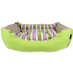 View Image 1 of Canvas Striped Dog Bed - Green