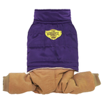 View Image 1 of Puffer Jacket with Corduroy Pants Dog Jumpsuit - Purple