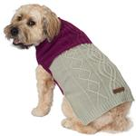 View Image 5 of Eddie Bauer Two Tone Cable Knit Dog Sweater - Plum Wine/Light Gray