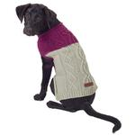 View Image 4 of Eddie Bauer Two Tone Cable Knit Dog Sweater - Plum Wine/Light Gray