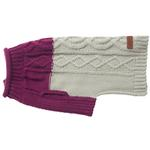 View Image 3 of Eddie Bauer Two Tone Cable Knit Dog Sweater - Plum Wine/Light Gray
