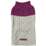 View Image 1 of Eddie Bauer Two Tone Cable Knit Dog Sweater - Plum Wine/Light Gray
