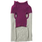 View Image 2 of Eddie Bauer Two Tone Cable Knit Dog Sweater - Plum Wine/Light Gray