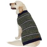 View Image 5 of Eddie Bauer Marled Striped Dog Sweater - Dark Thyme/Medium Indigo