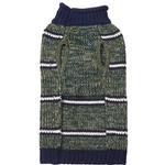 View Image 2 of Eddie Bauer Marled Striped Dog Sweater - Dark Thyme/Medium Indigo