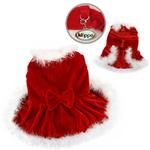 View Image 1 of Elegant Christmas Furry Dog Dress by Klippo