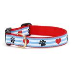 View Image 1 of Pawprint Stripe Dog Collar by Up Country