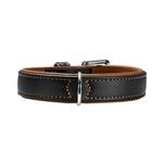 View Image 1 of Canadian Elk Leather Dog Collar by HUNTER - Black/Cognac