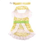 View Image 3 of Emily Yellow Floral and Lace Dog Dress with Matching Leash by Doggie Design