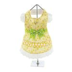 View Image 2 of Emily Yellow Floral and Lace Dog Dress with Matching Leash by Doggie Design