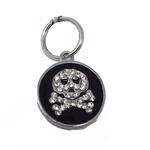View Image 1 of Enamel Circle Skull D-Ring Pet Collar Charm by foufou Dog - Black