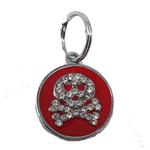 View Image 1 of Enamel Circle Skull D-Ring Pet Collar Charm by foufou Dog - Red