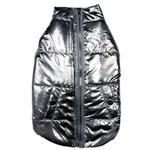 View Image 1 of fabdog® Metallic Puffer Dog Coat - Silver