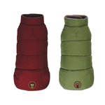 View Image 1 of fabdog® Reversible Puffer Dog Coat - Burgundy/Olive