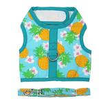 View Image 1 of Fabric Dog Harness with Leash by Doggie Design - Pineapple Luau