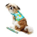 View Image 3 of Fabric Dog Harness with Leash by Doggie Design - Pineapple Luau