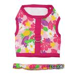 View Image 1 of Fabric Dog Harness with Leash by Doggie Design - Pink Hawaiian Floral