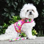 View Image 3 of Fabric Dog Harness with Leash by Doggie Design - Pink Hawaiian Floral