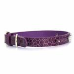 View Image 1 of Faux Crocodile Two Tiered Dog Collar with 18MM Letter Strap - Purple