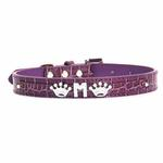 View Image 3 of Faux Crocodile Two Tiered Dog Collar with 18MM Letter Strap - Purple